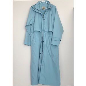 L.L. Bean | Sky blue hooded long rain coat